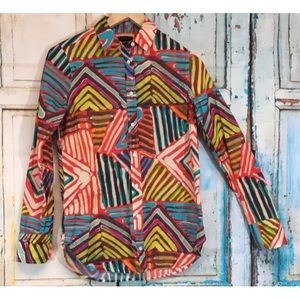 J.Crew Tribal Artsy Boy Fit Top Blouse Size 2 36""